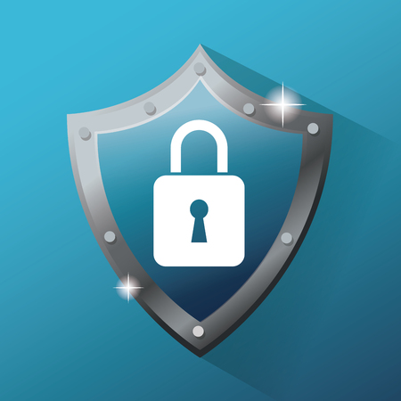 Shield and padlock icon. Cyber security system warning and protection theme. Vector illustraton Illustration