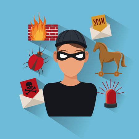 Hacker and icon set. Cyber security system warning and protection theme. Vector illustraton Illustration