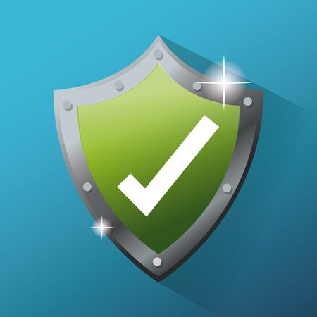 check icon: Shield and check mark icon. Cyber security system warning and protection theme. Vector illustraton