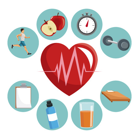 Heart apple bottle juice food bed and weight icon. Healthy lifestyle fitness sport and bodycare theme. Vector illustration
