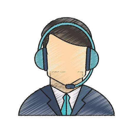 telemarketing: Operator man icon. Technical service online support service and telemarketing theme. Isolated design. Vector illustration Illustration