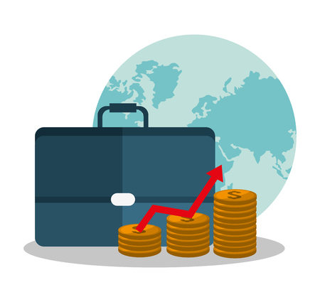 Suitcase and coins icon. Profit money commerce and economy theme. Isolated design. Vector illustration