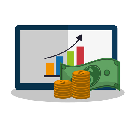 Tablet icon. Profit money commerce and economy theme. Isolated design. Vector illustration Illustration