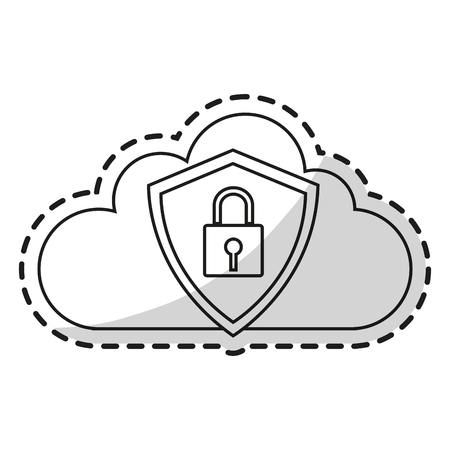 piracy: Padlock and cloud icon. Security system warning protection and danger theme. Isolated design. Vector illustration Illustration