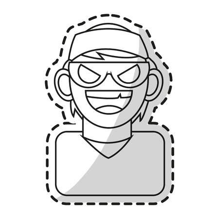 Hacker icon. Security system warning protection and danger theme. Isolated design. Vector illustration