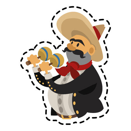 Man icon. Mexican culture landmark and latin theme. Isolated design. Vector illustration
