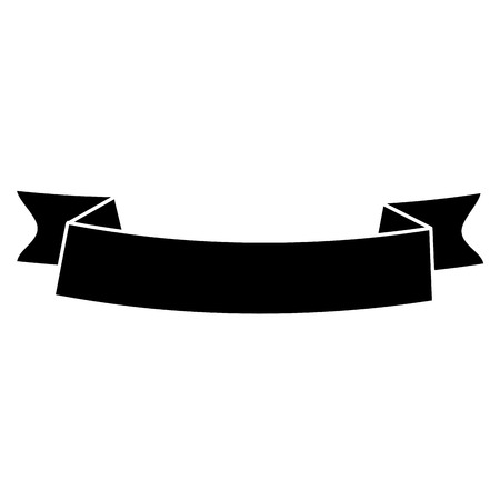 silhouette ribbon banner black empty design vector illustration