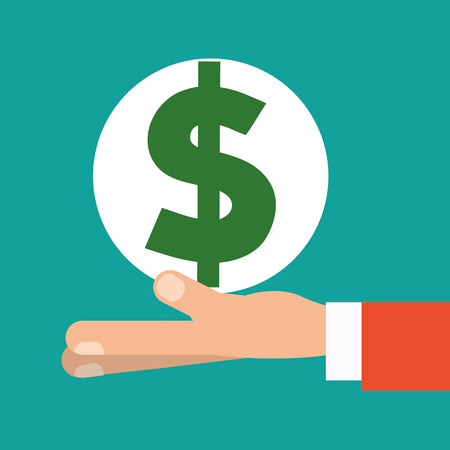 paying: hand holding money dollar symbol vector illustration