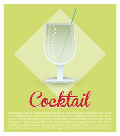 cocktail fresh drink green background vector illustration
