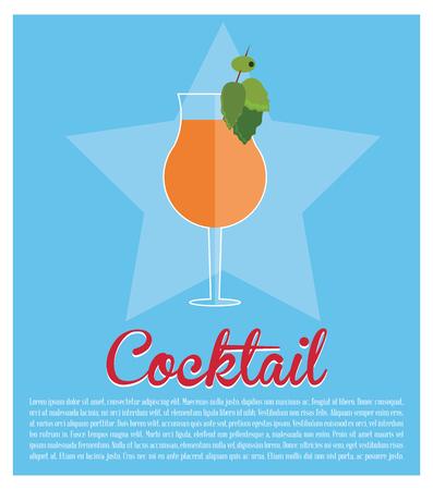 cocktail mint leaf olive star background vector illustration Illustration