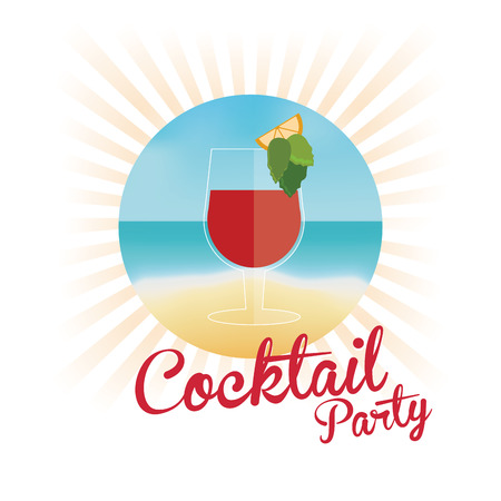 segment: cocktail orange segment pink background vector illustration Illustration