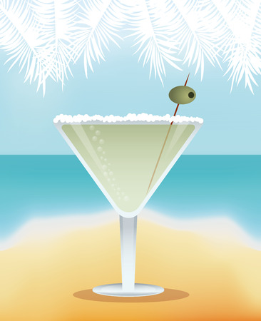 cocktail martini yellow background vector illustration
