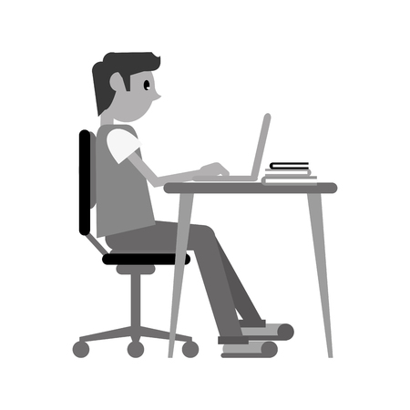 man working front computer with pc books monochromatic vector illustration