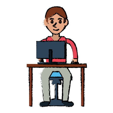 cartoon young boy uses computer desk chair design vector illustration