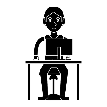 uses a computer: silhouette young boy uses computer desk chair design vector illustration