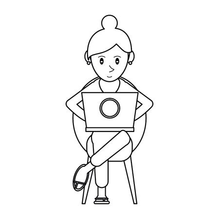 using laptop: pictogram beautiful girl using laptop sitting vector illustration
