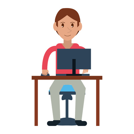 uses a computer: young boy uses computer desk chair design vector illustration