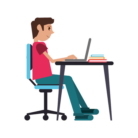 man working front computer with pc books vector illustration