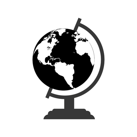 monochromatic globe map world earth business icon vector illustration