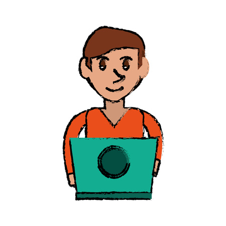 cartoon young man working green laptop design vector illustration Illustration