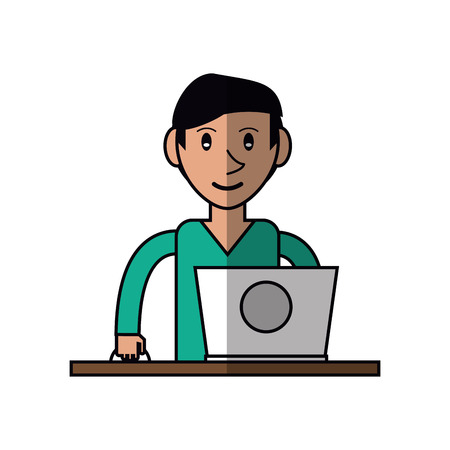 cartoon young man using laptop on desk vector illustration