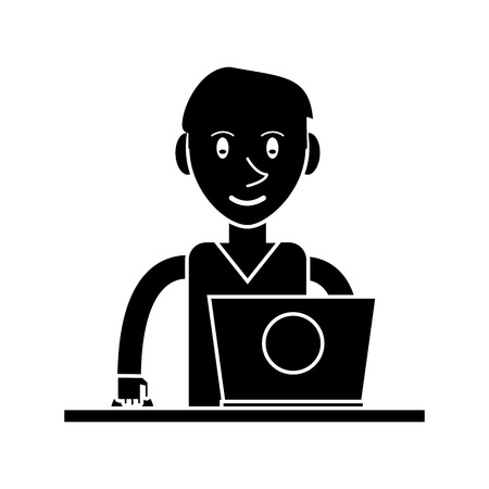 using laptop: silhouette young man using laptop on desk vector illustration Illustration