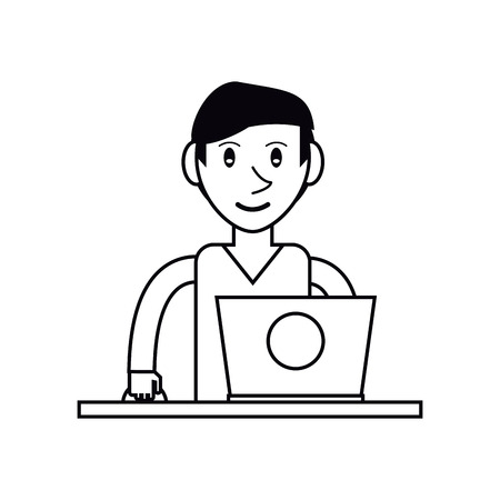 using laptop: pictogram young man using laptop on desk vector illustration