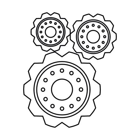 pictogram three gear wheel engine cog icon vector illustration