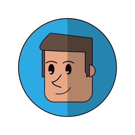 cartoon face man front smiling blue background shadow vector illustration Ilustração