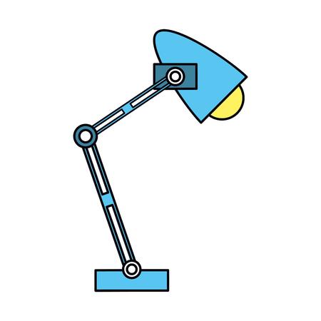 old pc: office desk blue lamp light icon vector illustration Illustration