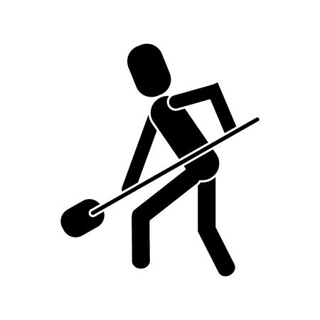 digging: man shovel digging work construction pictogram vector illustration Illustration