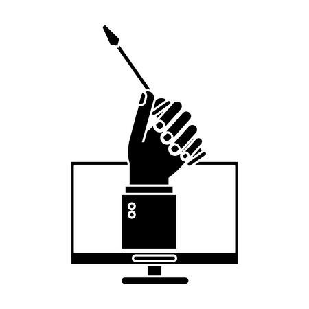 vector sign under construction: computer hand holds screwdriver under construction sign pictogram vector illustration eps 10 Illustration