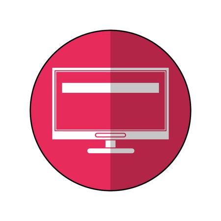 computer repair: computer screen tool repair support pink circle shadow vector illustration Illustration