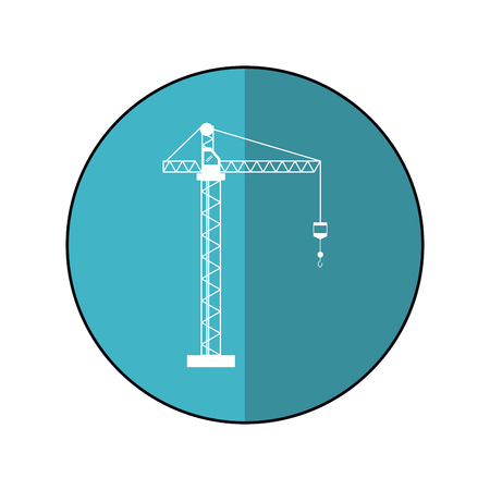 construction machine: crane hook construction machine blue circle shadow vector illustration
