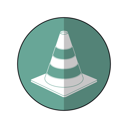 road cone warning sign design green circle shadow vector illustration