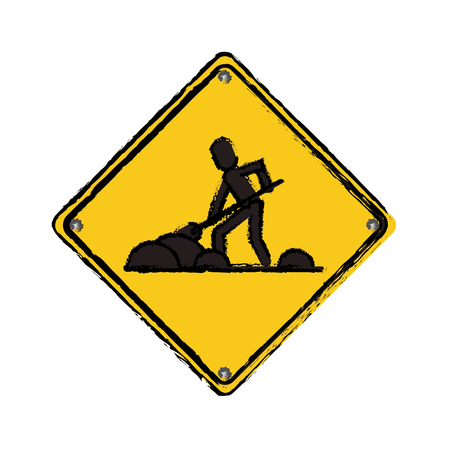 warning under construction repair sign drawing vector illustration