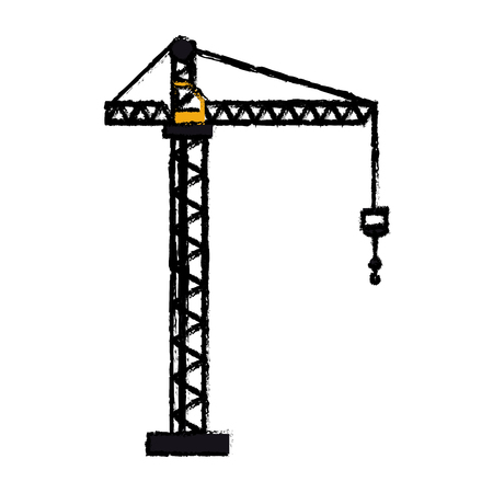 construction machine: crane hook construction machine drawing vector illustration