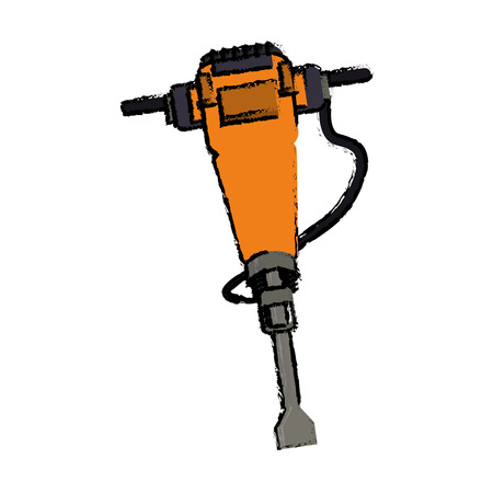 jackhammer construction tool design drawing vector illustration