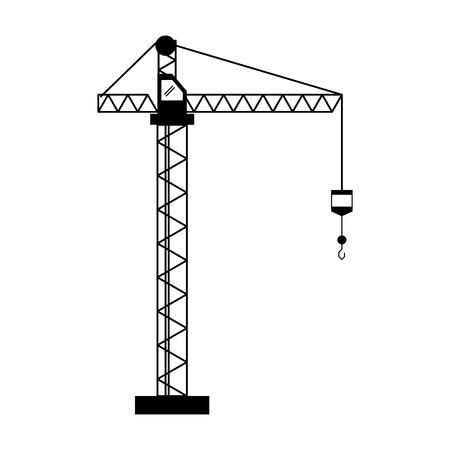 construction machine: crane hook construction machine pictogram vector illustration