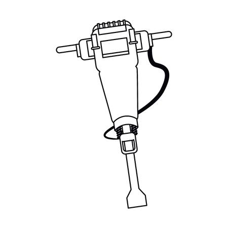 presslufthammer: jackhammer construction tool design outline vector illustration Illustration