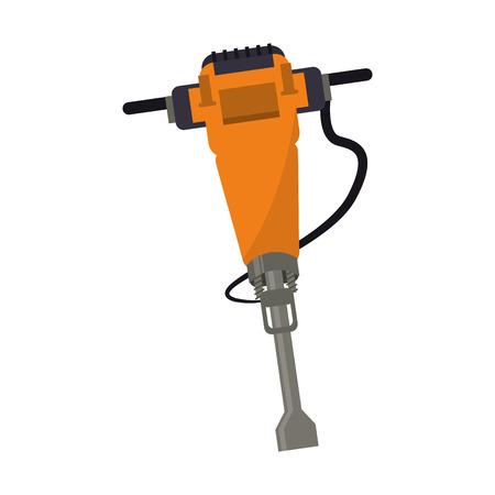 jackhammer construction tool design vector illustration