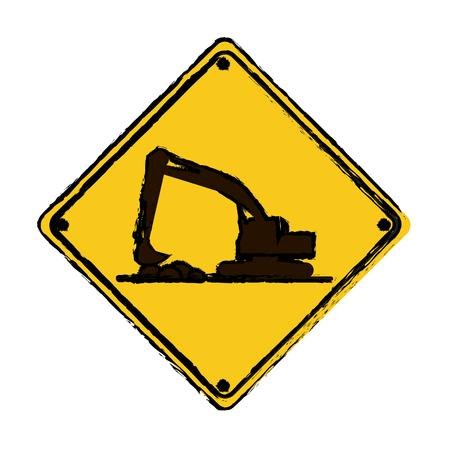 drawing excavator truck construction work hard vector illustration eps 10