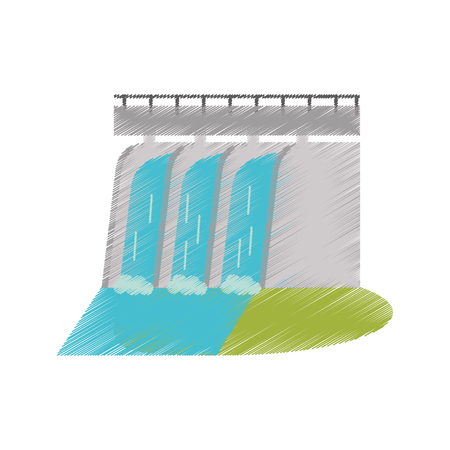 hydroelectric station: hydroelectric station plant water dam ed vector illustration Illustration