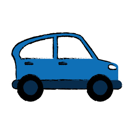 drawn blue car transport industry contamination icon vector illustration