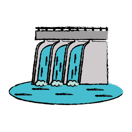 hydroelectric station: drawn hydroelectric station plant water dam vector illustration Illustration