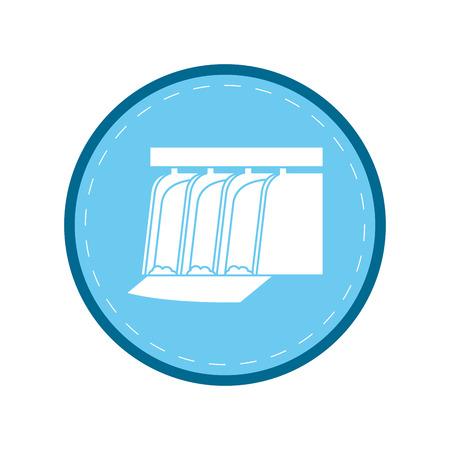 hydroelectric station: hydroelectric station plant water dam blue circle vector illustration Illustration