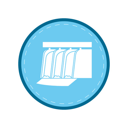 hydroelectric station plant water dam blue circle vector illustration Illustration