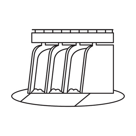 hydroelectric station: hydroelectric station plant water dam pictograph vector illustration