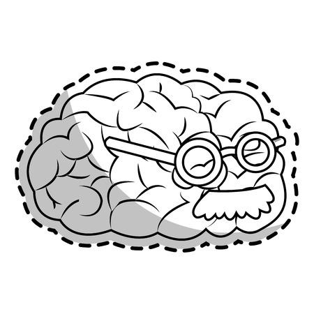 Brain cartoon icon. Big idea creativity genius and imagination theme. Isolated design. Vector illustration