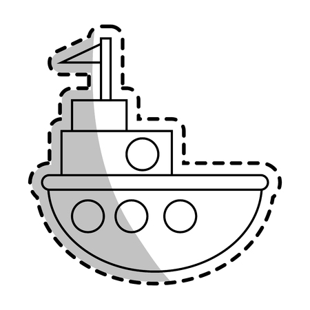 Ship toy icon. Childhood play game and object theme. Isolated design. Vector illustration